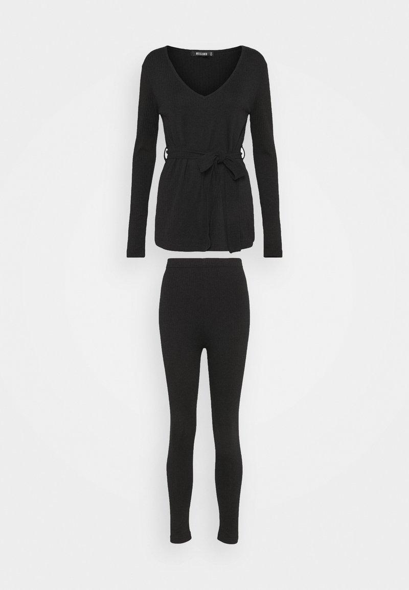 Missguided - TIE WAIT SET - Leggings - Trousers - black