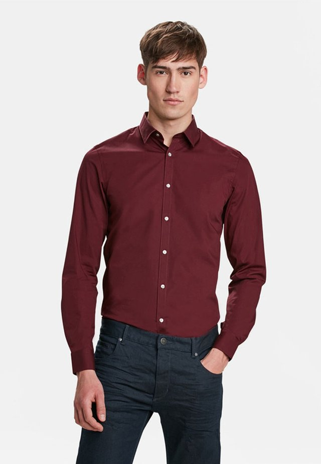 SLIM FIT STRETCH - Shirt - burgundy red