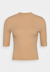 MID SLEEVE HIGH NECK TOP - Svetr - beige