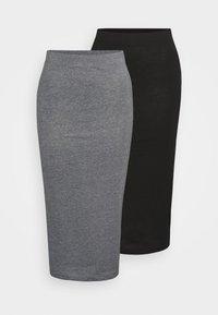 Noisy May Tall - NMANJA SKIRT TALL 2 PACK - Falda de tubo - black/medium grey melange - 3