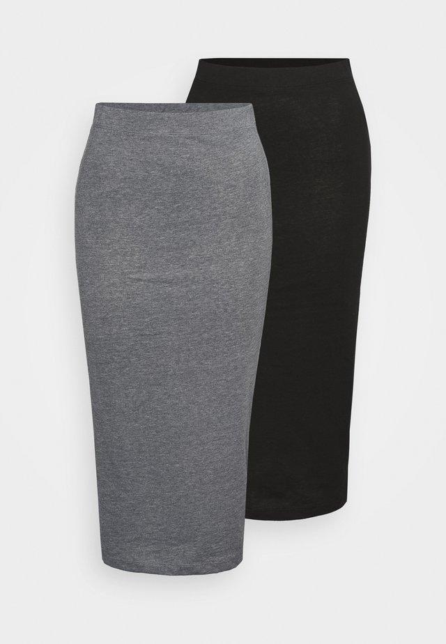 NMANJA SKIRT TALL 2 PACK - Spódnica ołówkowa  - black/medium grey melange
