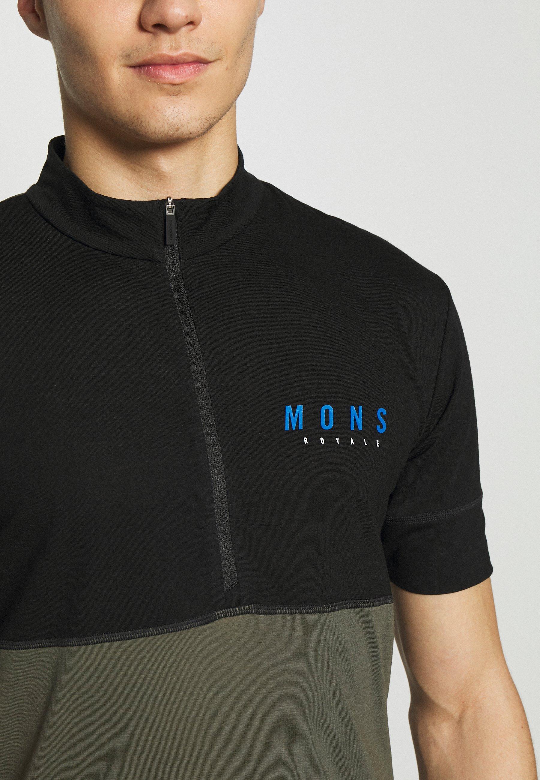 Mons Royale CADENCE HALF ZIP - T-shirt imprimé - black/olive