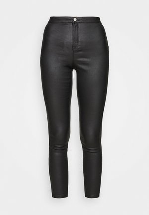 VICE HIGH WAISTED COATED SKINNY - Pantalones - black