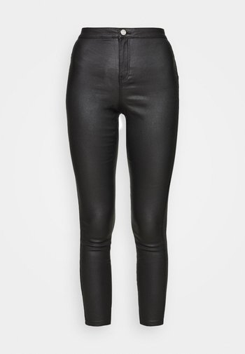 VICE HIGH WAISTED COATED SKINNY - Pantalon classique - black