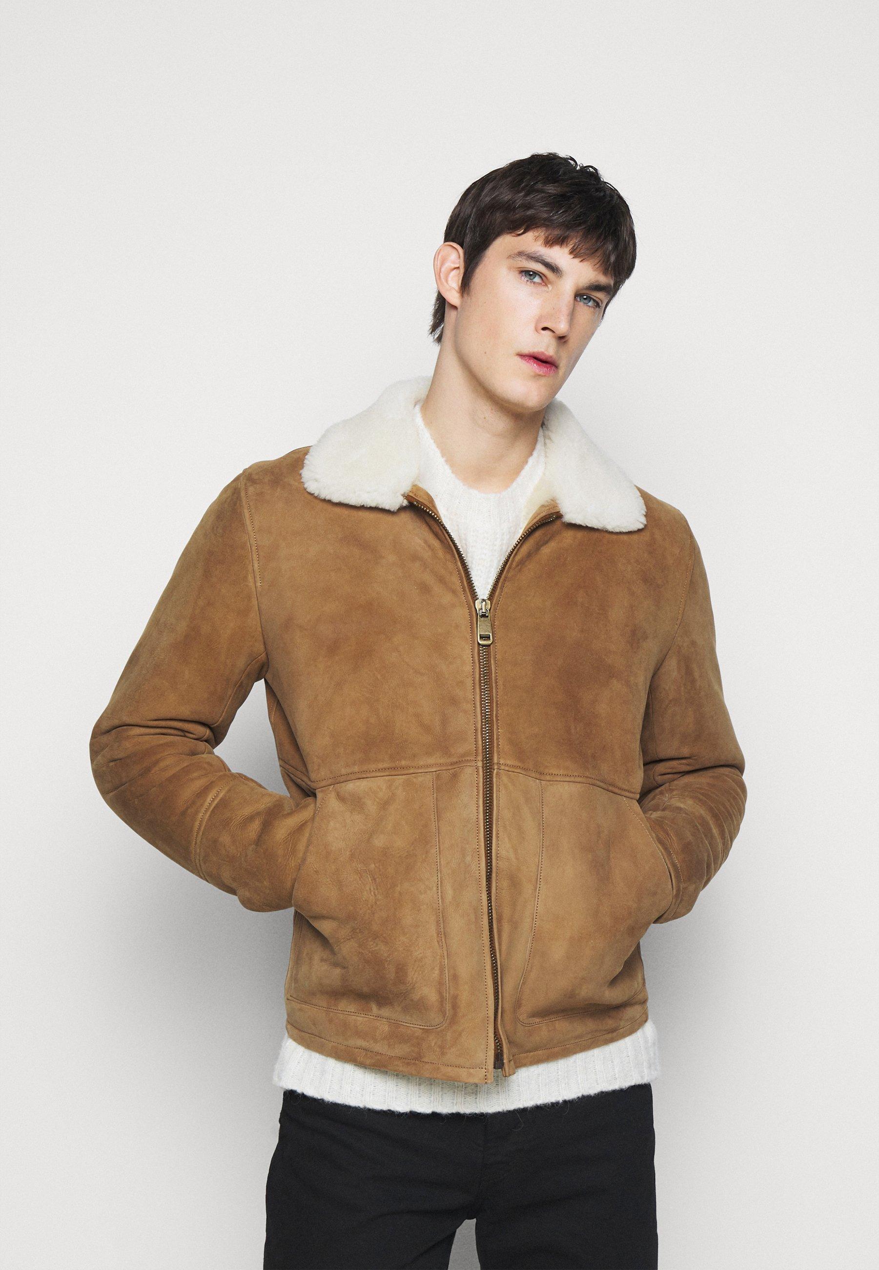 Men Leather jacket - camel/off white