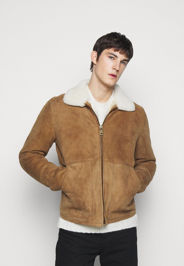 Giacca di pelle - camel/off white