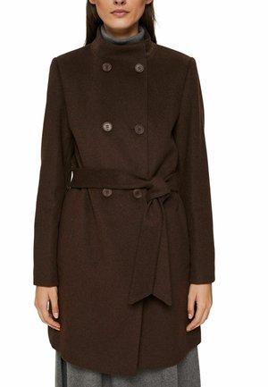 WOVEN STRAIGHT - Classic coat - dark brown