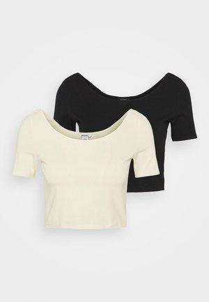 DREJA 2 PACK - Basic T-shirt - black dark/yellow dusty light
