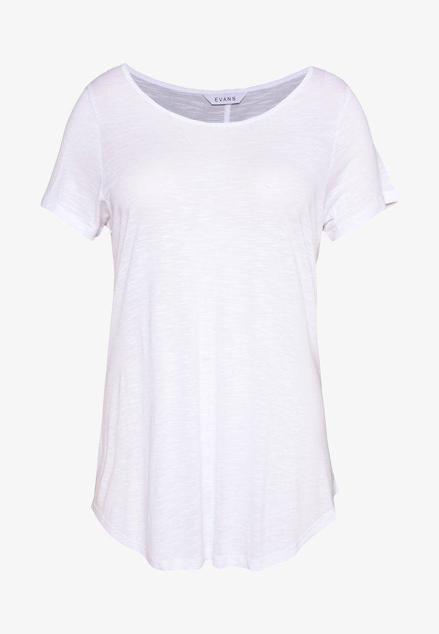 SCOOP NECK - Jednoduché triko - white