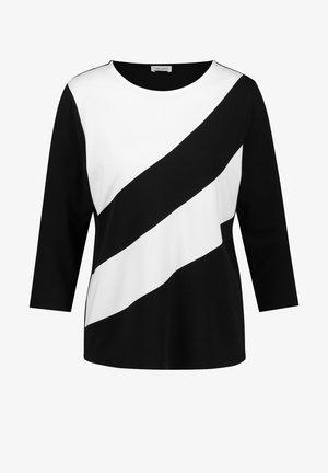 MIT BLOCKSTREIFEN - Long sleeved top - schwarz/ecru/weiss patch