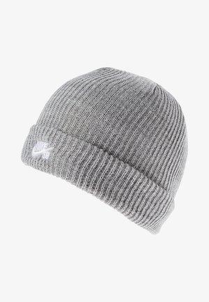 FISHERMAN BEANIE UNISEX - Lue - dark grey heather/white