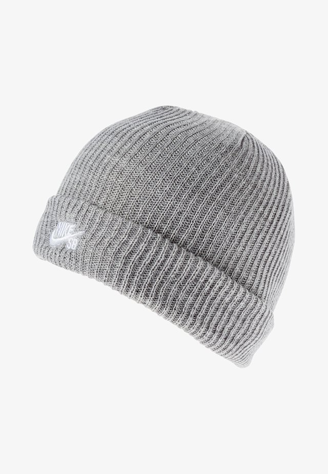 FISHERMAN BEANIE UNISEX - Lue - dark grey heather/white