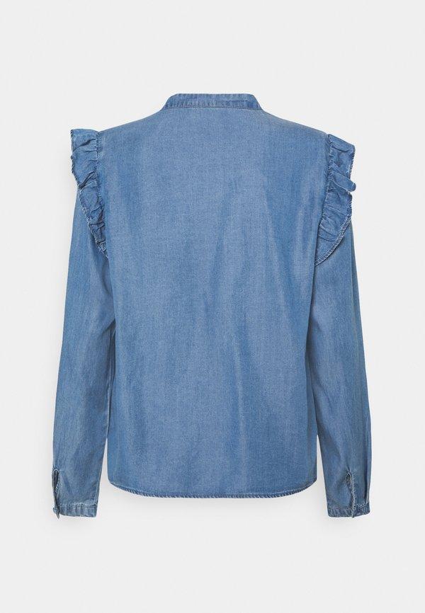 ONLY ONLEARTH LIFE RUFFLE - Koszula - medium blue denim/niebieski denim ONES