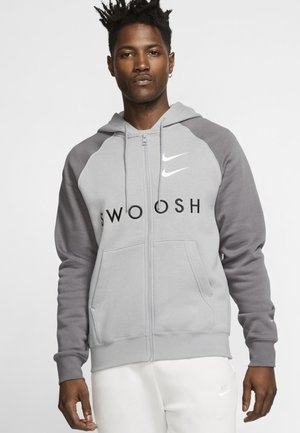 Zip-up hoodie - grey/black/white