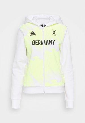 GER HOODY - Felpa con zip - white/yellow