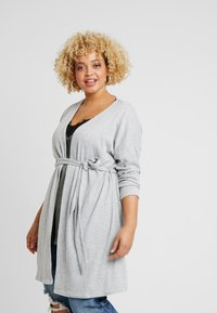 New Look Curves - SELF BELT CARDI - Kardigan - light grey - 0