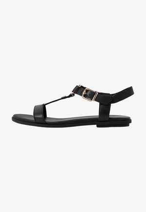 FEMININE LEATHER FLAT SANDAL - Sandali - black