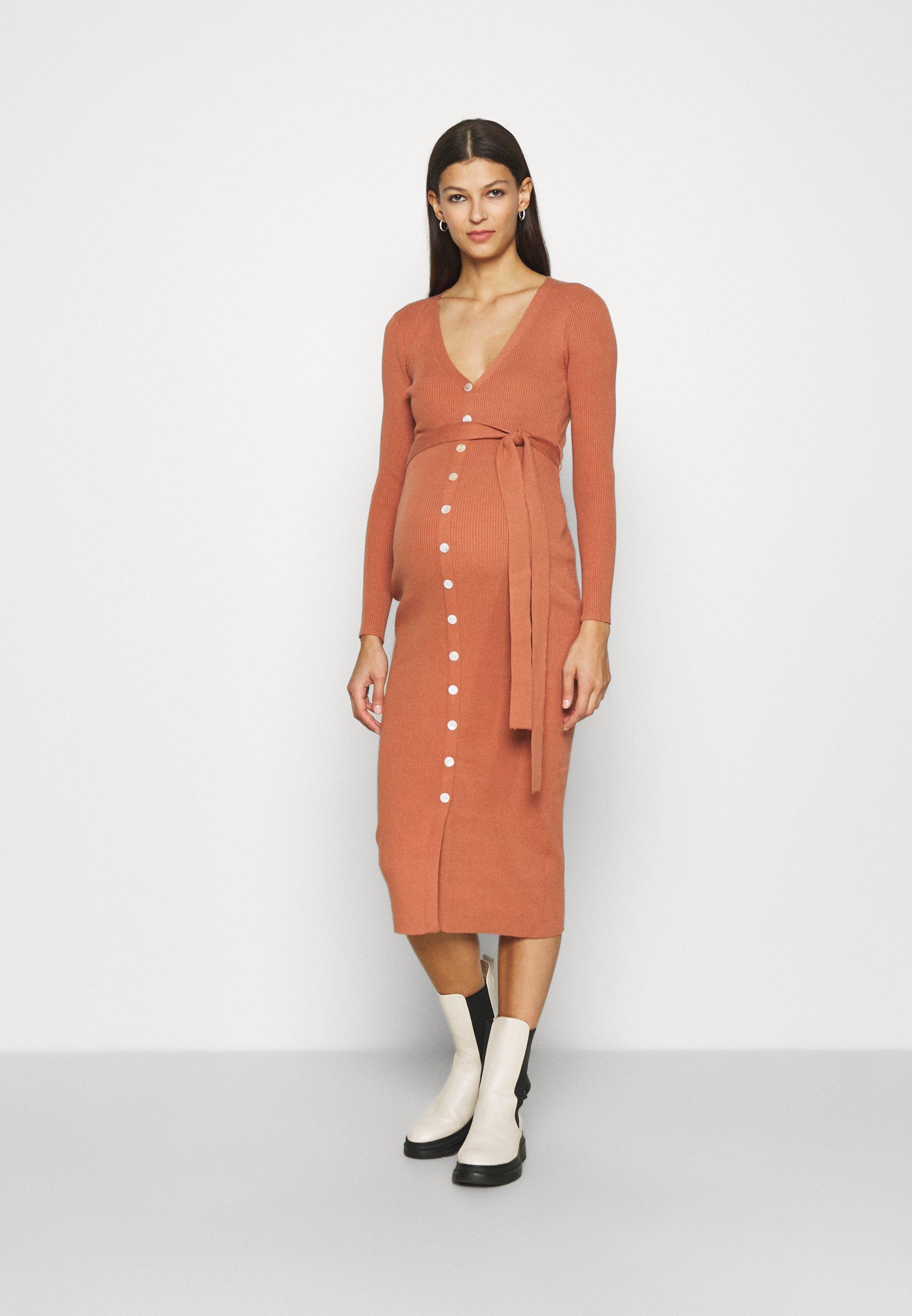Mujer SKINNY FIT LONG SLEEVE MIDI DRESS WITH V-NECK AND WAIST - Vestido de punto