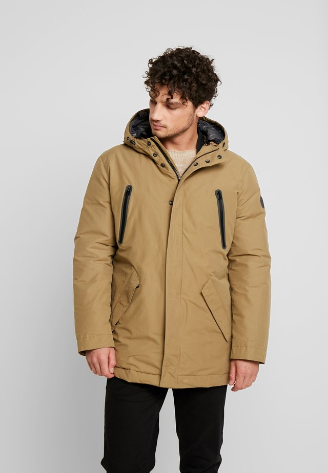 REGULAR FIT LONG SLEEVE HOOD - Down coat - sepia tint