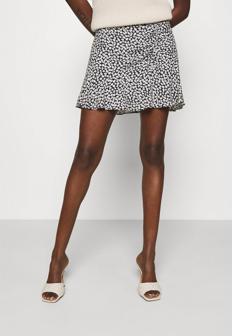 Abercrombie & Fitch - CINCH DETAIL SKIRT - A-line skirt - navy