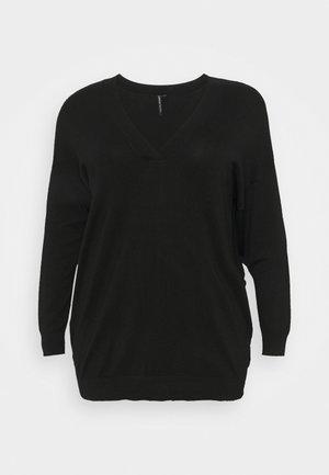 SLOUCHY V NECK  - Jumper - black