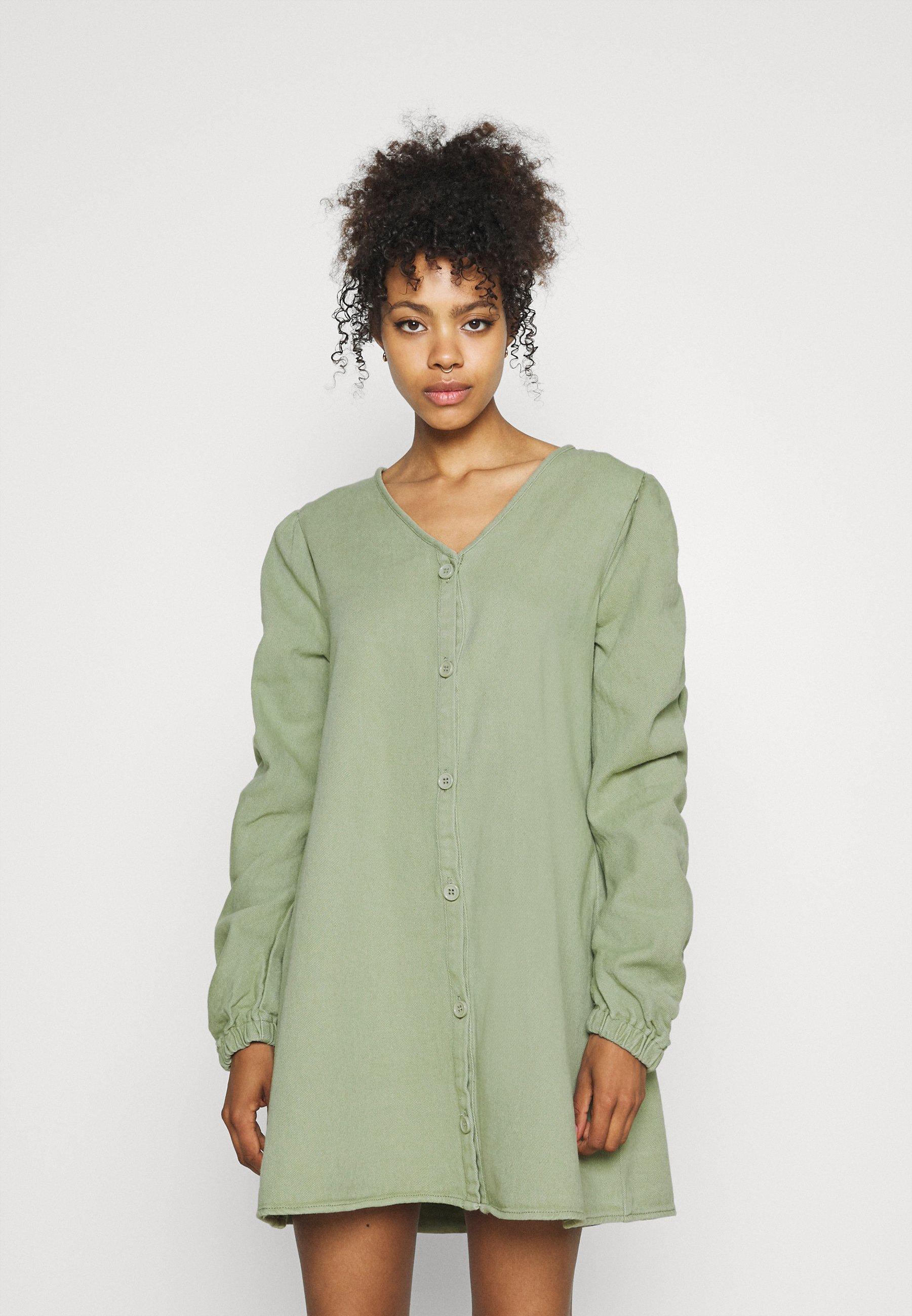 Women V NECK BUTTON UP DRESS - Denim dress