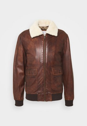 TG PILOT - Leather jacket - brown