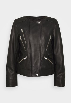 SLFPUKA BIKER - Leather jacket - black