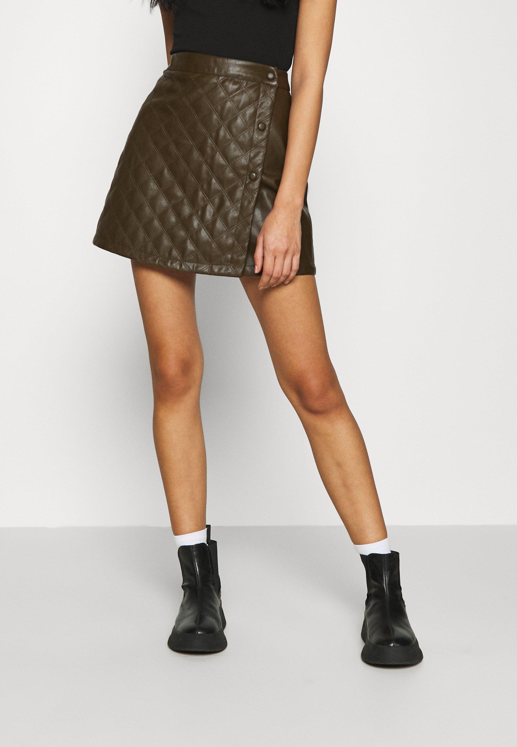 Femme QUILTED WRAP OVER MINI SKIRT - Minijupe - khaki