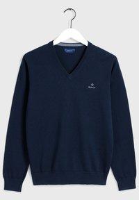 GANT - CLASSIC COTTON V-NECK - Pullover - evening blue - 6