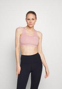 Nike Performance - BAND BRA NON PAD - Medium support sports bra - pink glaze/htr/pink glaze/(white) - 0