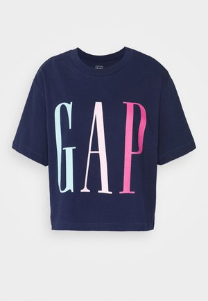 BOXY CROP TEE - Print T-shirt - elysian blue