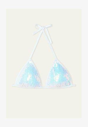 MIT WEISSEN PAILLETTEN - Bikini top - bianco iridescente