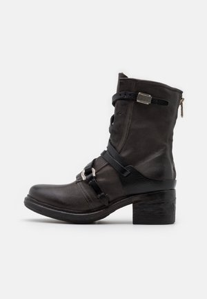 Cowboy/biker ankle boot - smoke/nero
