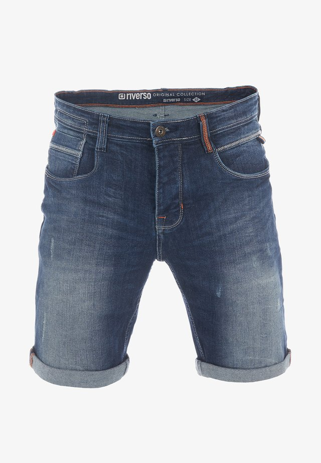 RIVTOM - Denim shorts - dark blue denim