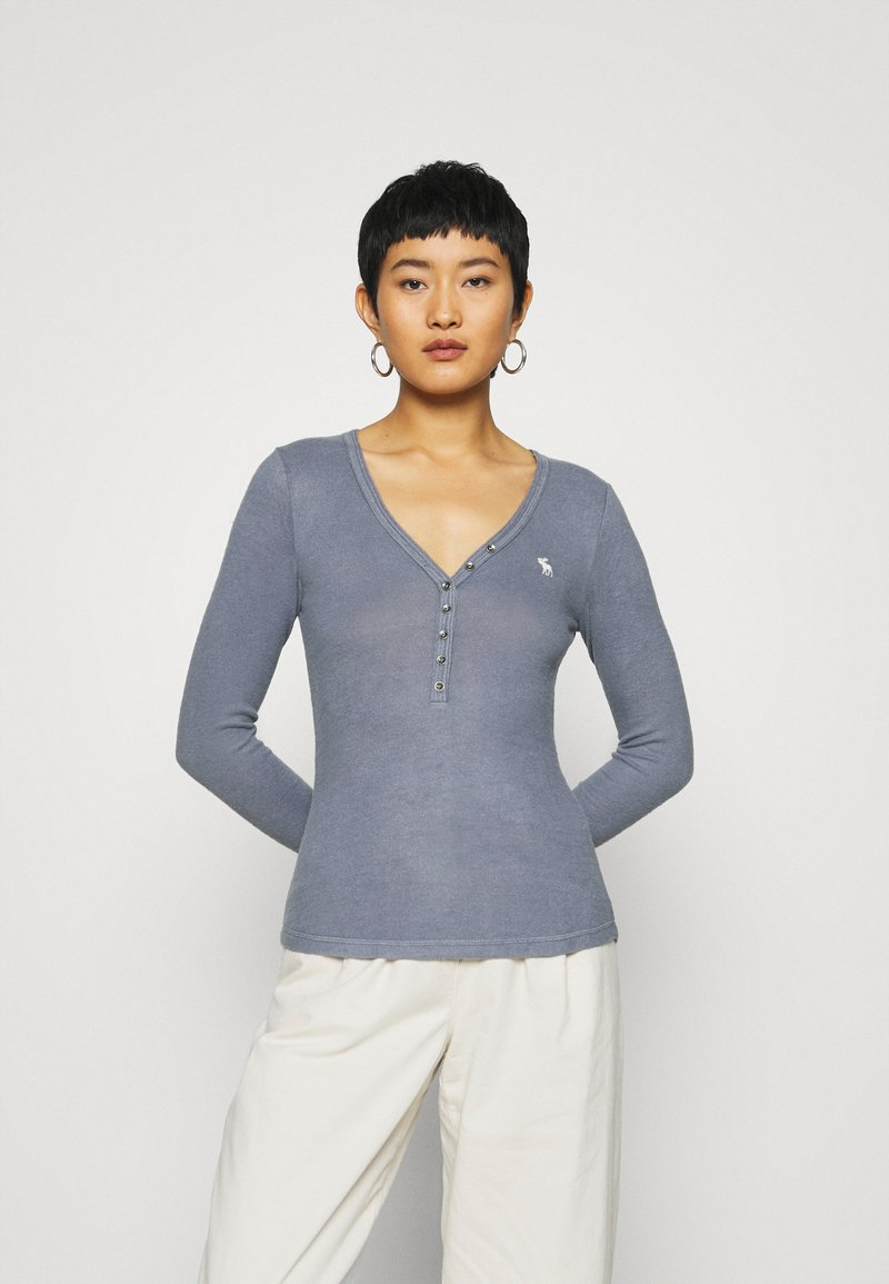 Abercrombie & Fitch - COZY HENLEY - Jumper - medium blue