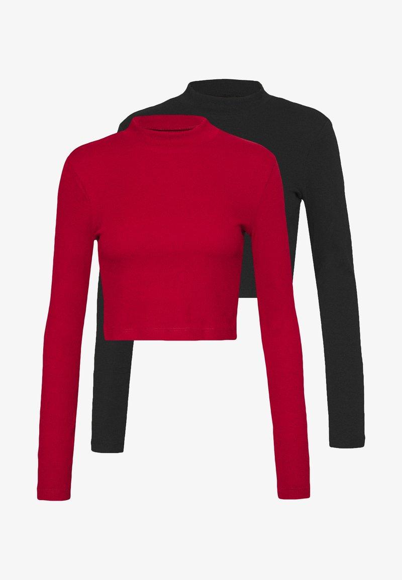 Even&Odd - 2 PACK - Langarmshirt - black/red
