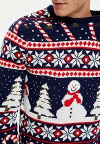 DeFacto - CHRISTMAS - Stickad tröja - navy - 4