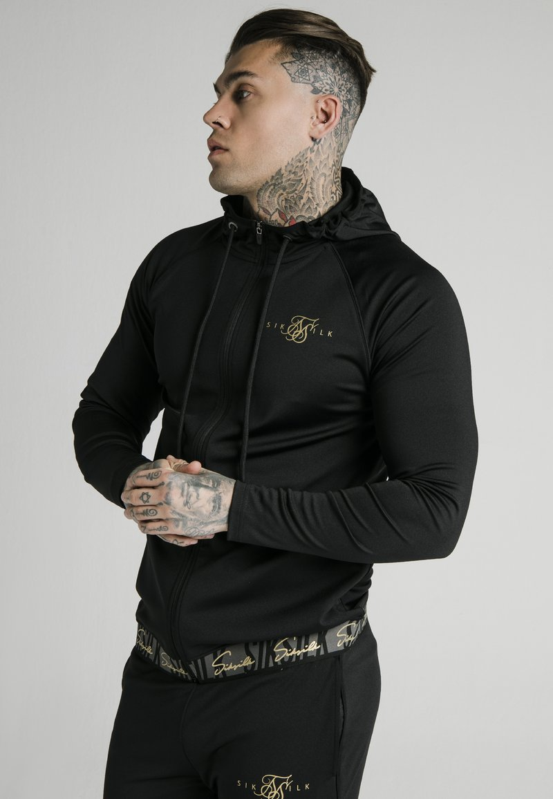 SIKSILK - SCOPE TAPE ZIP THROUGH HOODIE - Felpa aperta - black