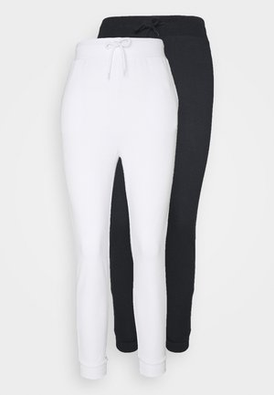 2 PACK - Tracksuit bottoms - black/ white