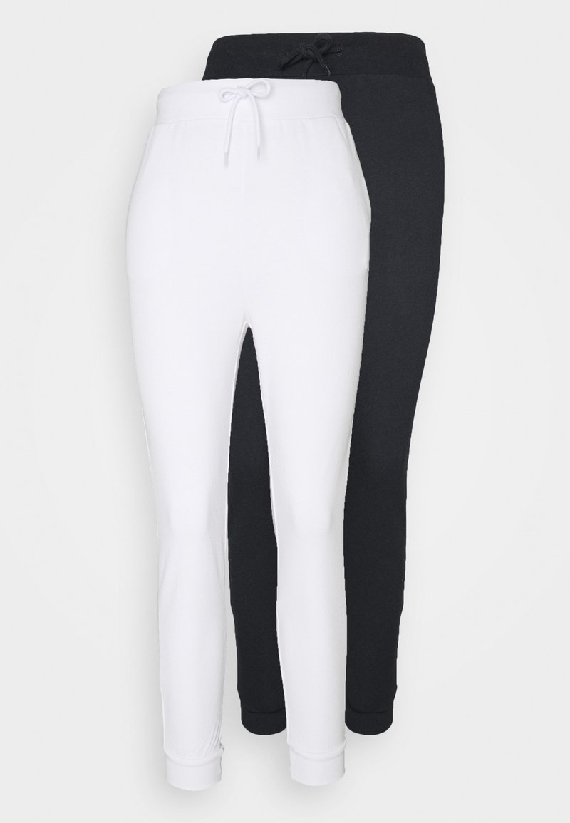 Even&Odd - 2er PACK - Slim fit joggers - Teplákové kalhoty - black/ white