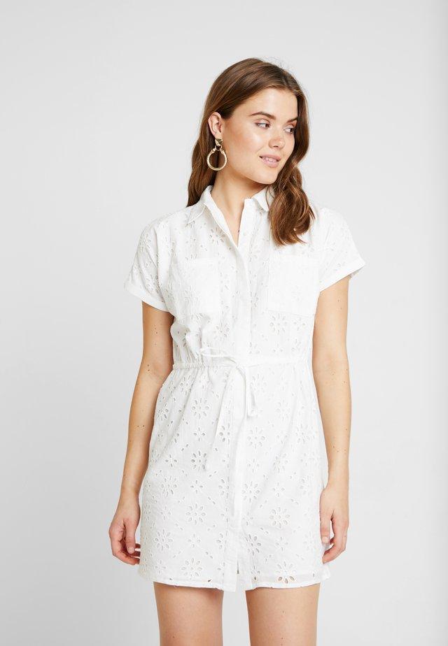 BRODERIE MINI DRESS - Shirt dress - ivory