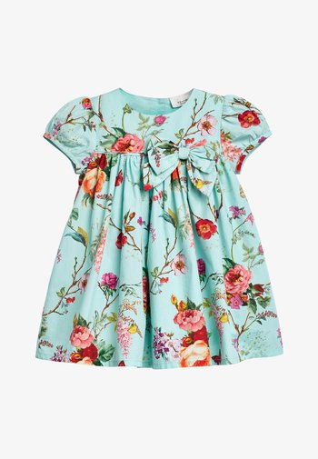TEAL FLORAL PROM DRESS WITH KNICKERS AND HEADBAND (0MTHS-2YRS)