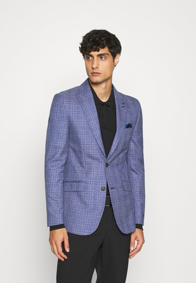 JASPE OVER CHECK JACKET SLIM - Chaqueta de traje - mid blue