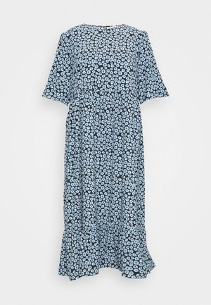 MINI FLORAL MIDI DRESS - Day dress - dusty blue