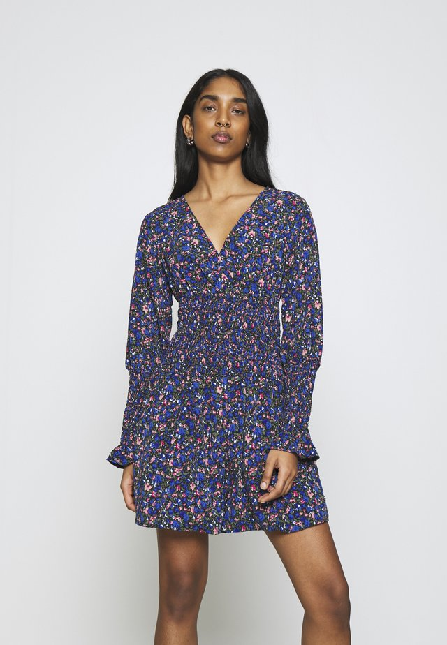 SHIRRED WAIST AND CUFF SKATER DRESS - Korte jurk - blue