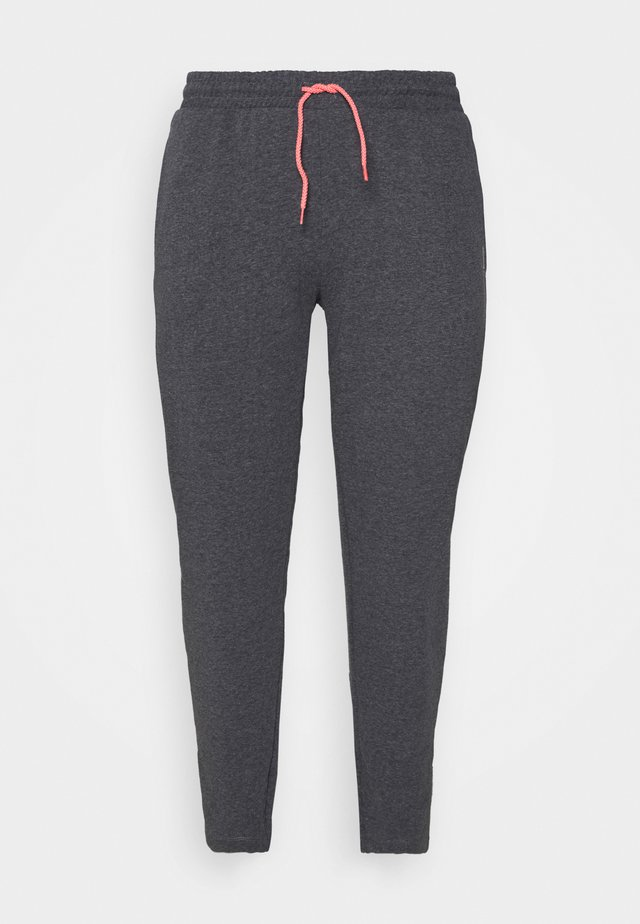 ONPJOLIVIA BAGGY PANTS CURVY - Pantalon de survêtement - dark grey melange/white/coral