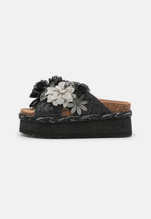 BES WITH MULTI FLOWERS - Heeled mules - black
