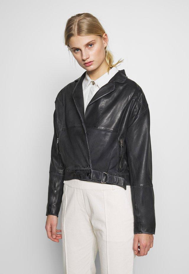 LORIANA - Kožená bunda - black