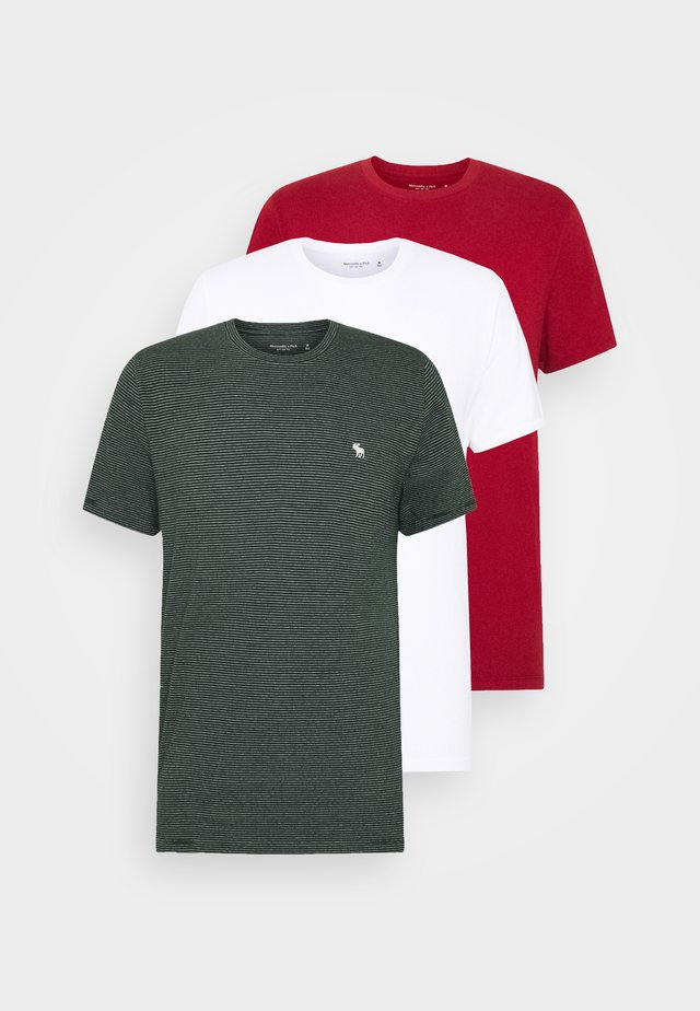 HOLIDAY CREW 3 PACK  - T-shirt print - red/green stripe/white
